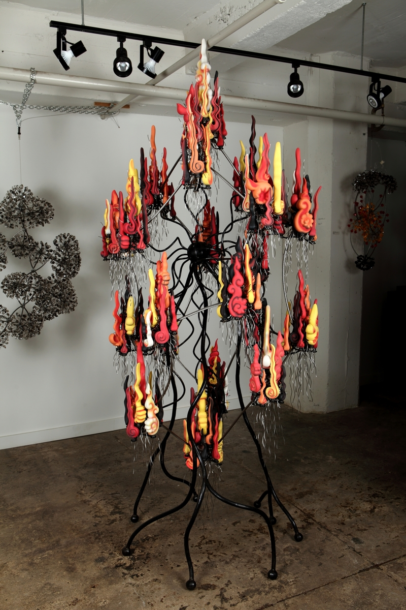 "Flaming Dodecahedron, Engobe Cast Porcelain, Steel, Stainless Steel, 40"" x 92"" x 34"",  $54,500."