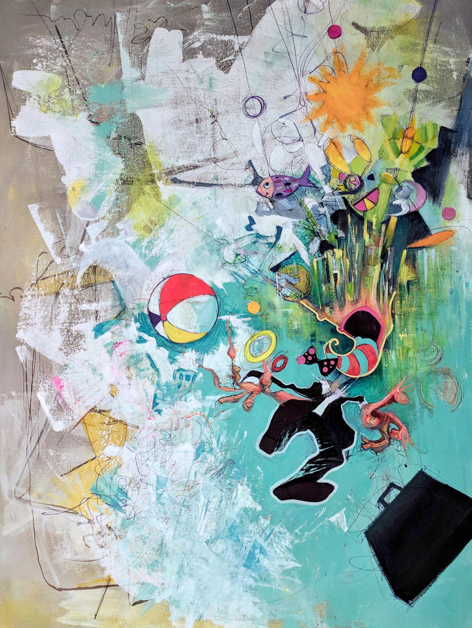 "Unraveling, 2018, 30"" x 40"" Acrylic on Canvas, $3300."