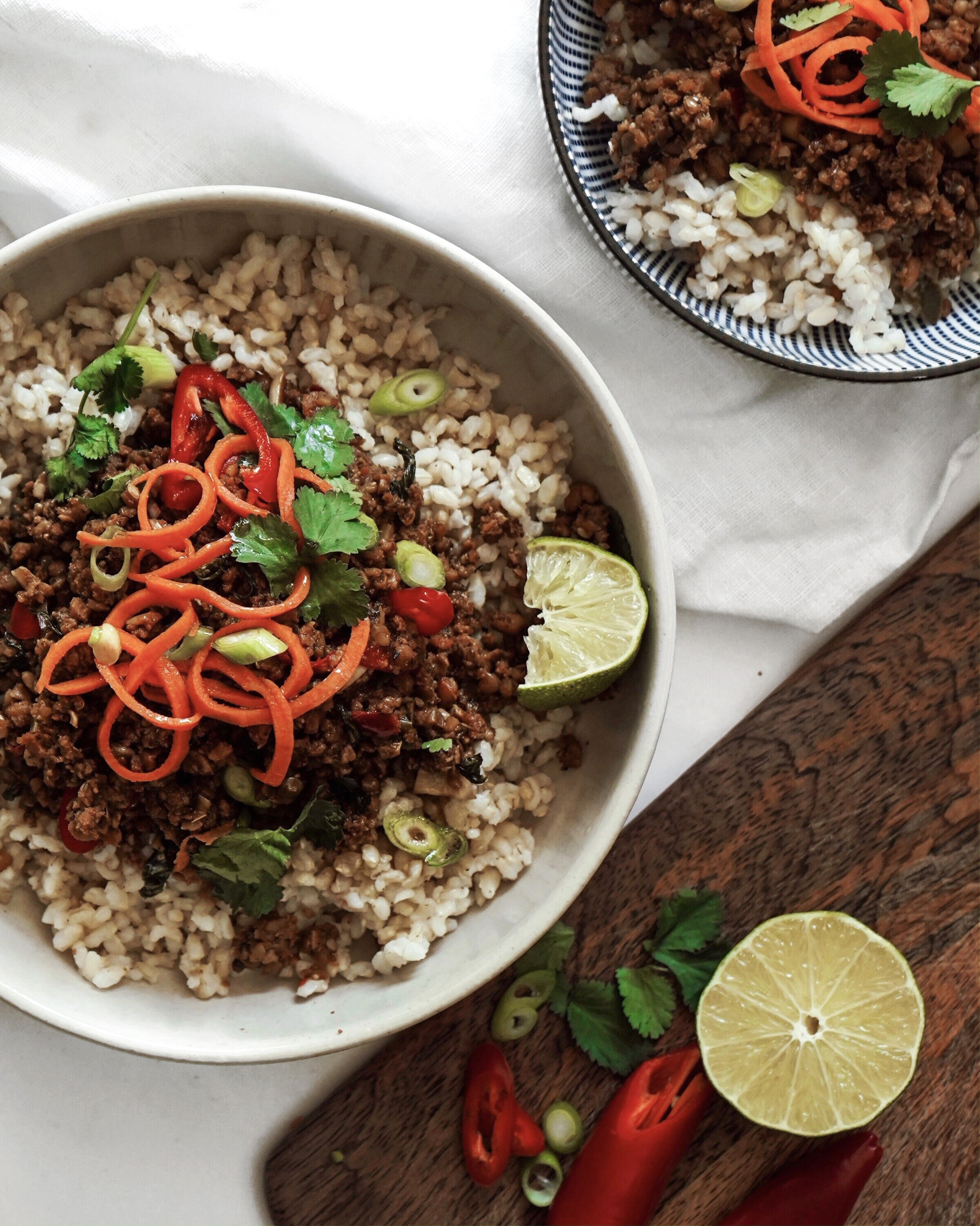 thai basil vegan mince - quick & easy week day meal