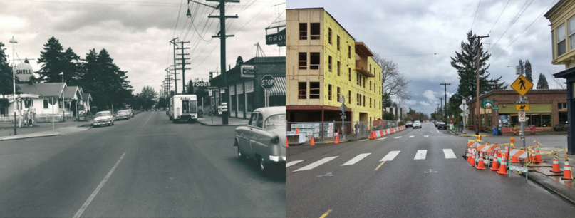 Above:    the corner of NE 30th and Killingsworth 1954 vs now.