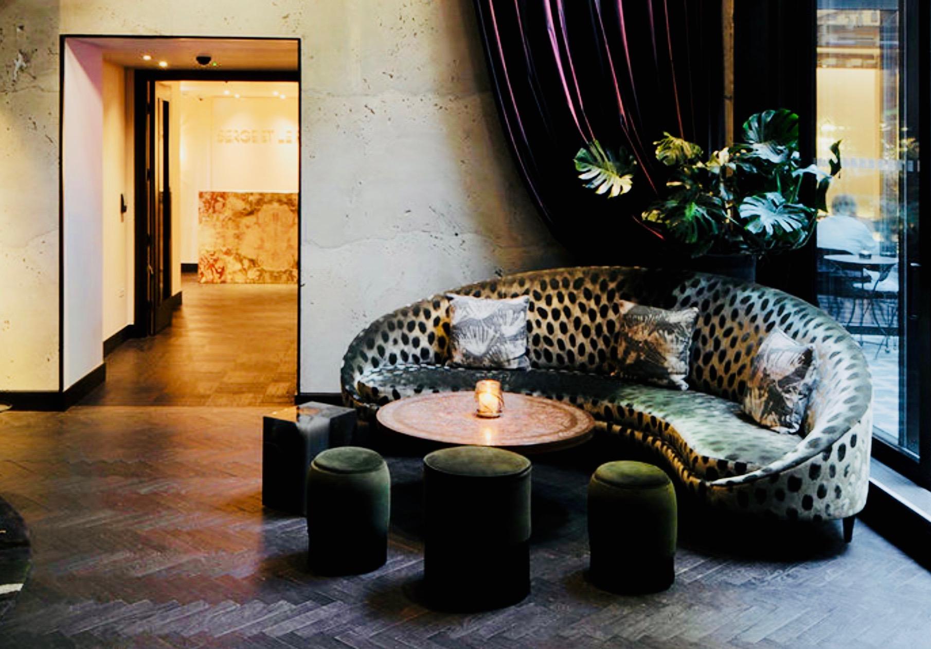 """ANTIQUE HERRINGBONE PARQUET IN """"NOCTURNE""""  - LONDON - FITZROVIA - MANDRAKE HOTEL - TALA FUSTOK INTERIOR DESIGN"""