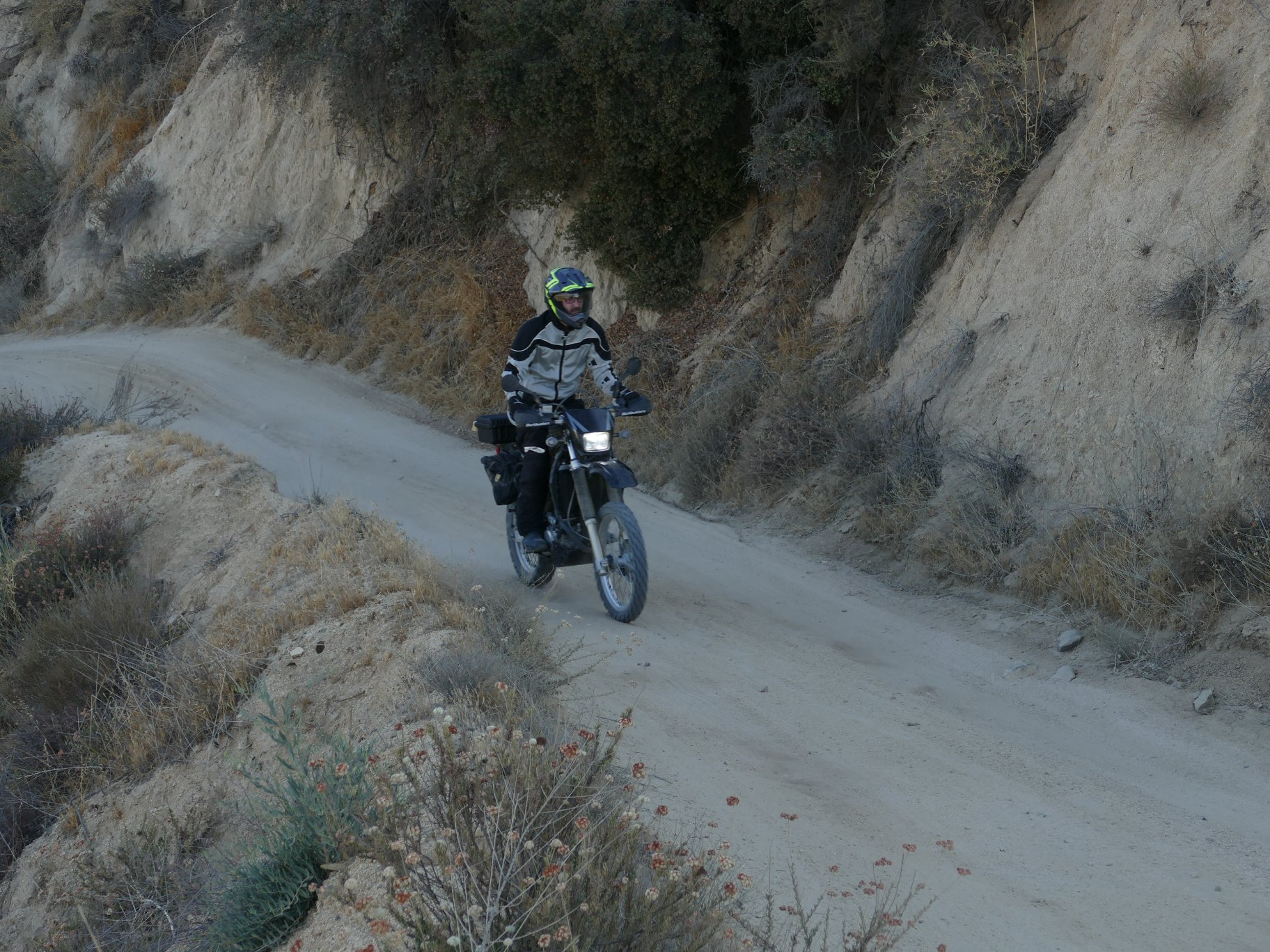 Me going up Indian Truck Trail a few weeks ago. This is one of the areas impacted by the Holy Fire. Photo:  @geomotoadv