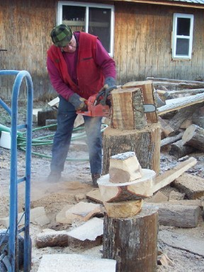 Chain sawing a bowl blank from a block of spalted Yellow Birc.jpg