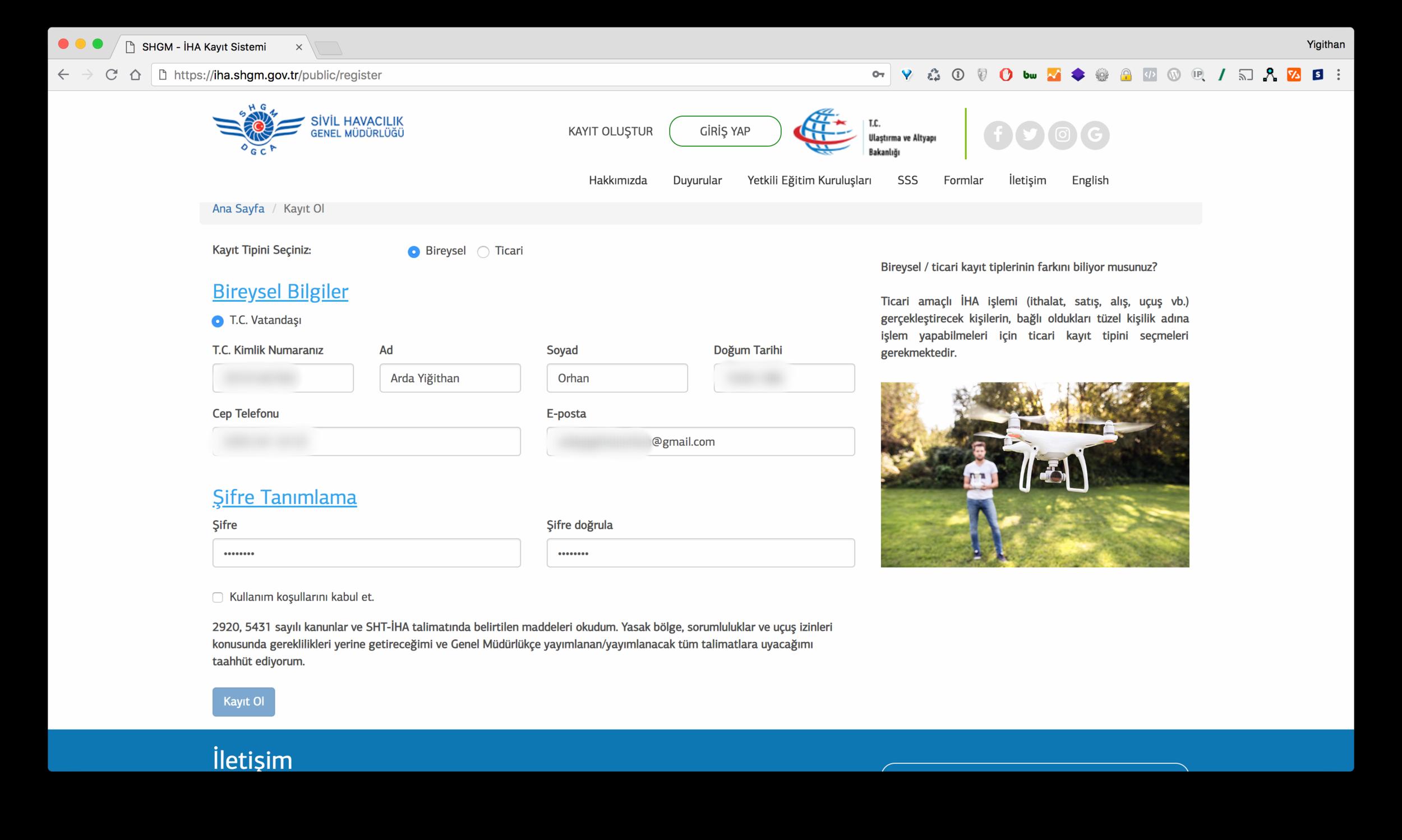 IHA Kayıt Sistemi Bireysel Kayıt Formu