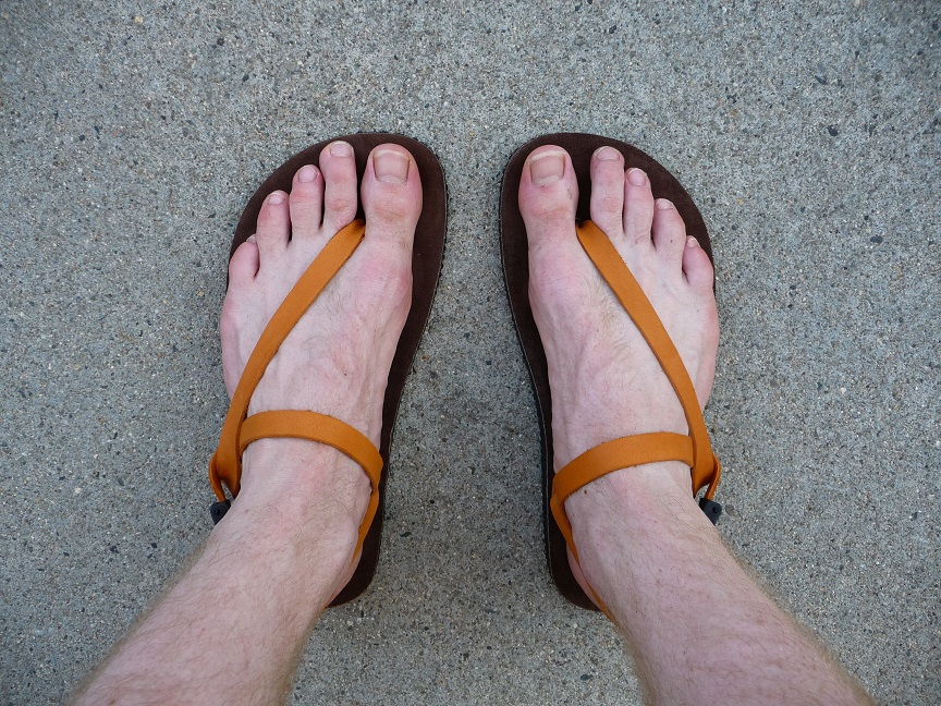 Trying out minimal sandals