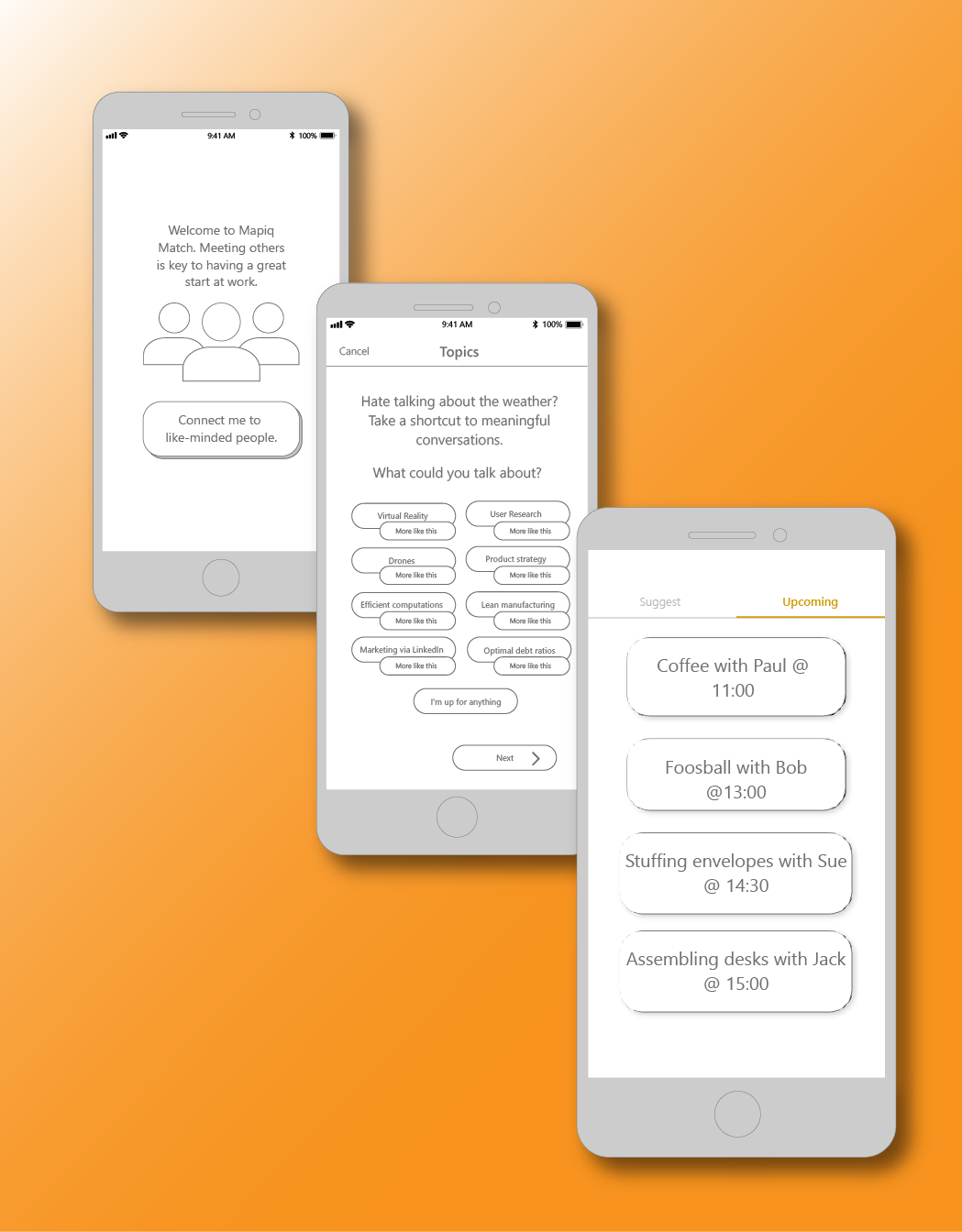 Creating occasions for new hires to make meaningful connections - My concept for a smartphone application