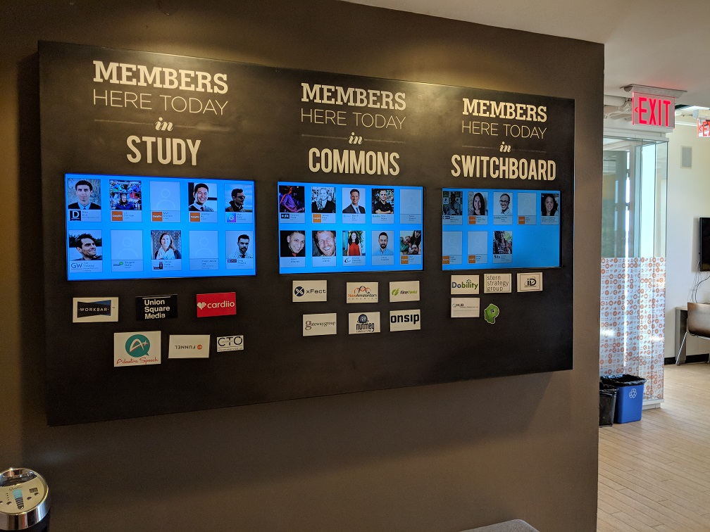 Displays showing which members are present builds familiarity within the coworking community.