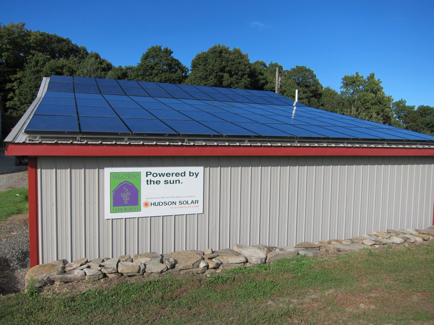 Barn with solar panels on the roof