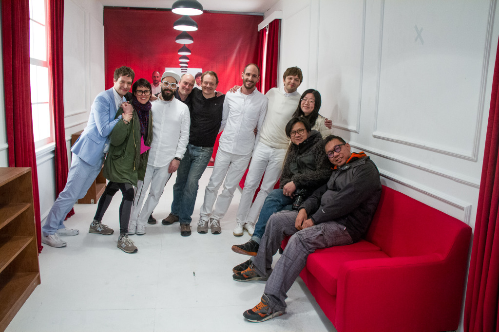 L to R: Damian Kulash, Mary Fagot, Tim Nordwind, Luke Geissbuhler, Alec Jarnagin, Dan Konopka, Andy Ross, Lingyi Chen, Julius Mak, Sunny Ong Wan Hoong
