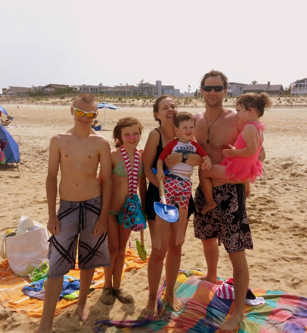 At the beach with friends and family