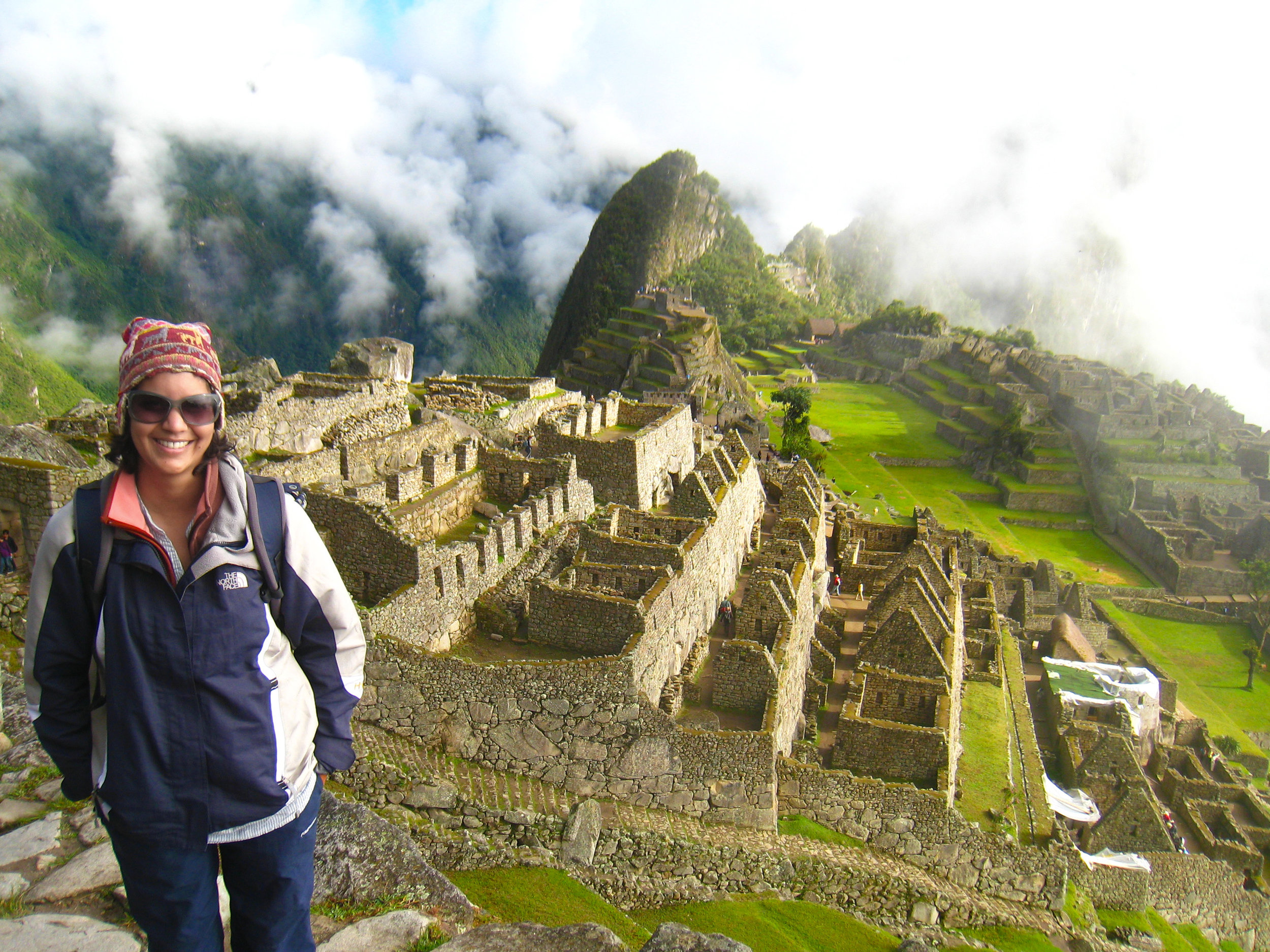 Hiking to the top of Machu Picchu, Peru.