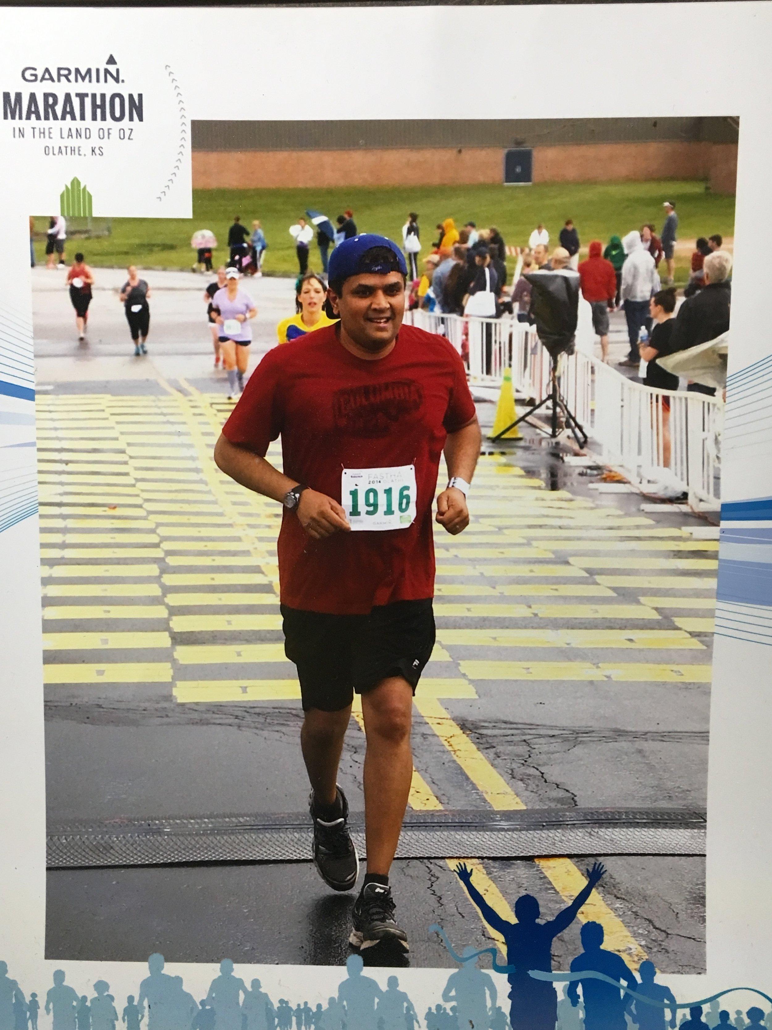 Srini on his first marathon ever