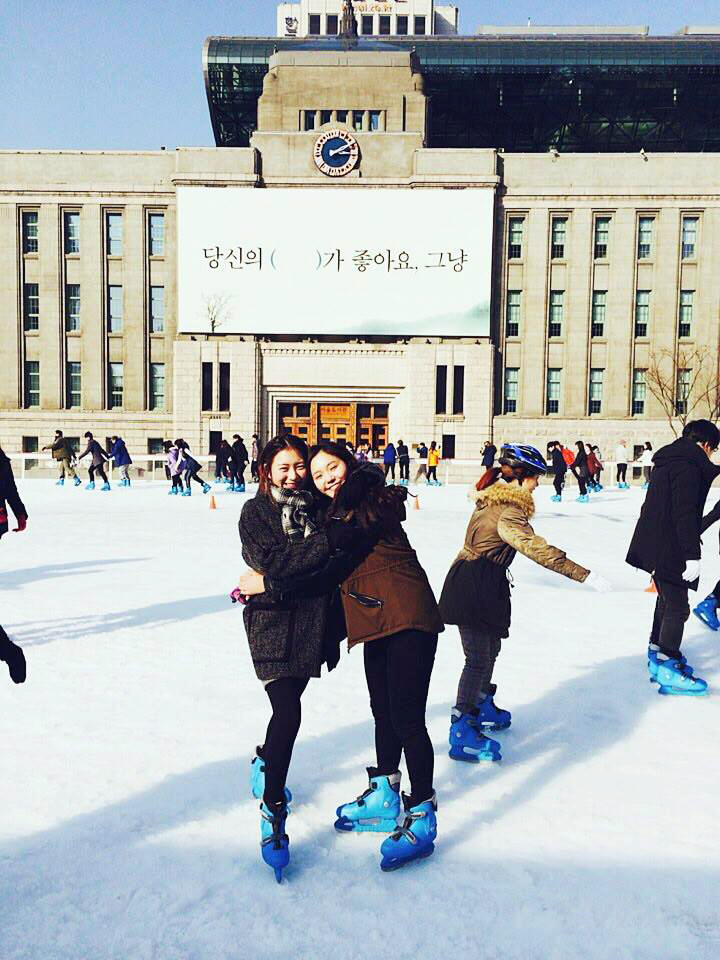 Skating in front of the old Seoul City hall, now the Seoul Metropolitan Library