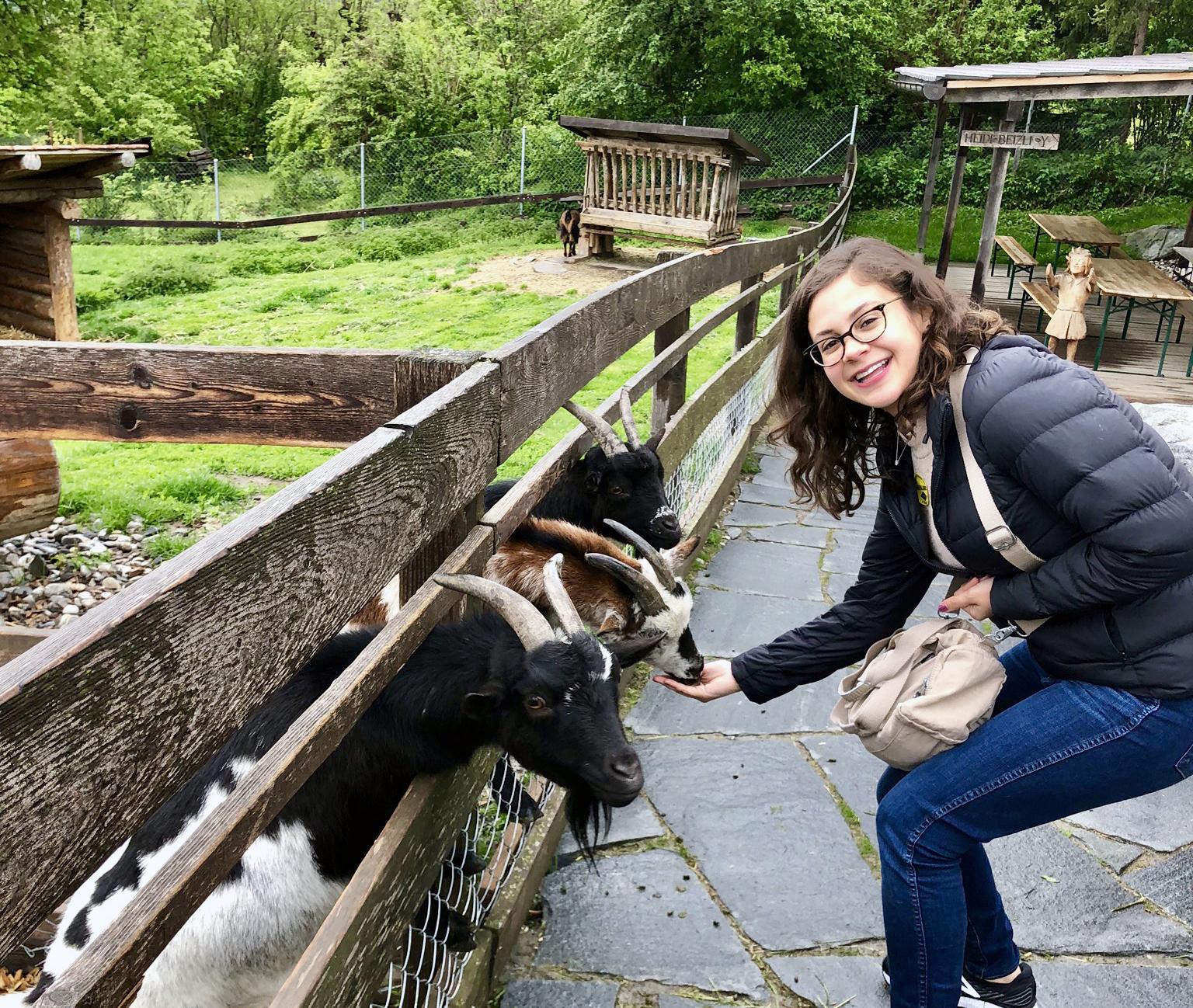 Andrea feeding goats in Maienfeld, Switzerland.