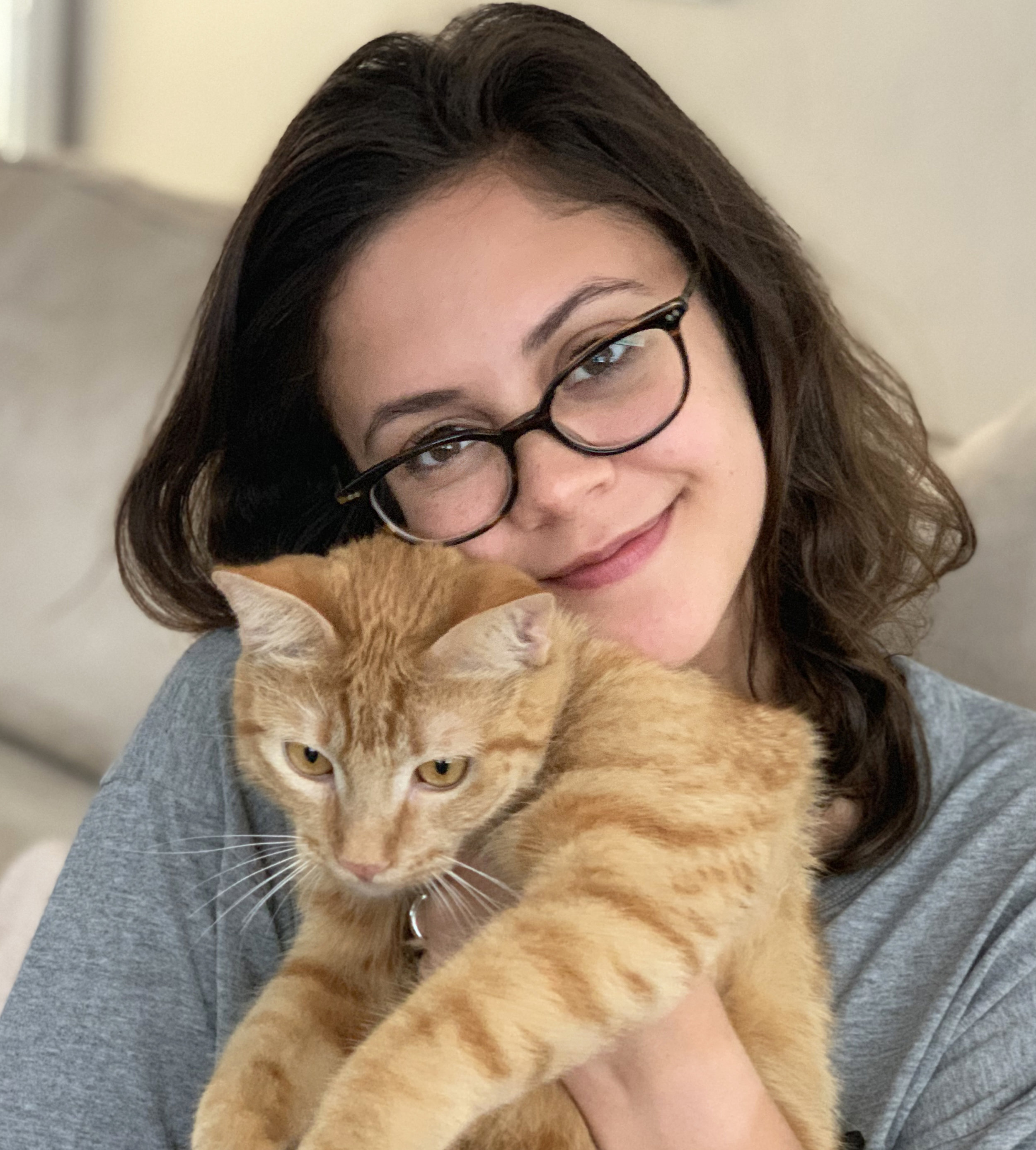 Andrea with her cat Peanut Butter.