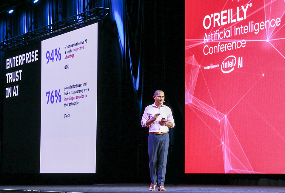 Keynote at O'Reilly AI Conference San Jose 2019 - Trusted AI: A holistic approach to production AIAI is critical for business, but there's no AI without trust and fairness. And people don't trust what they don't understand. In this keynote, Dinesh Nirmal shows bias cropping up in an unlikely place, and shares a framework for building fair and open AI.