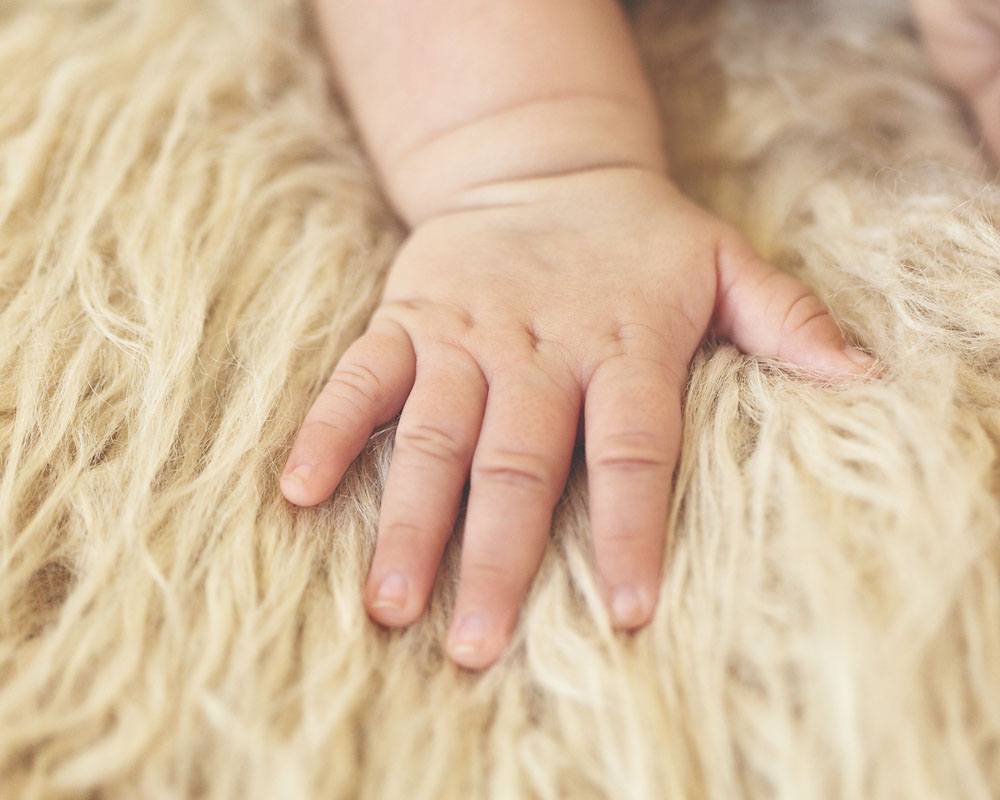 3 month old newborn photography of a hand