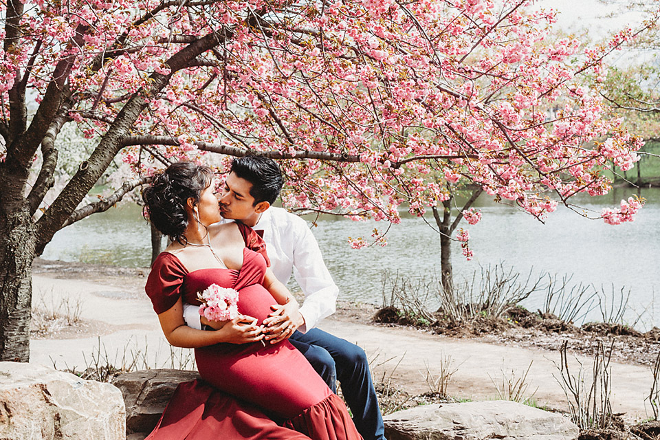 Cherry Blossom Maternity Photography in New Jersey