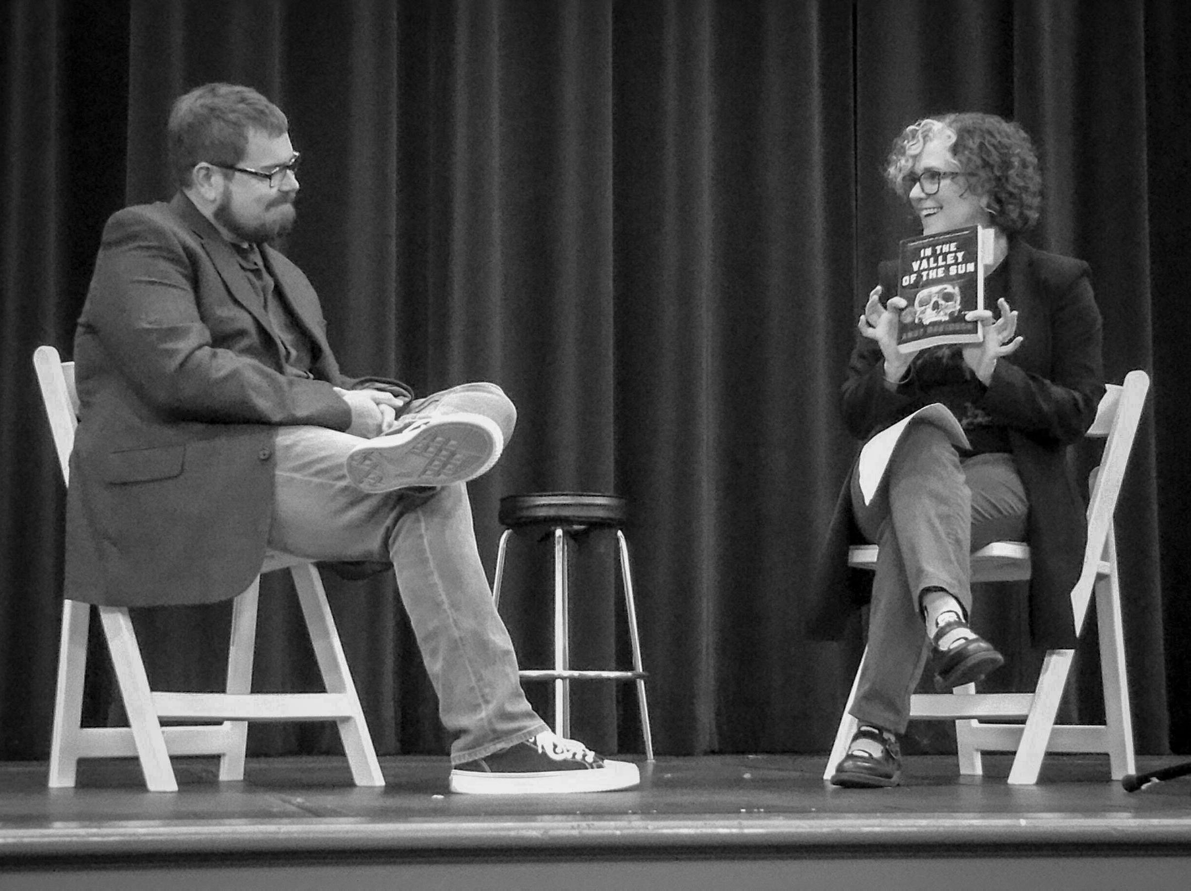 Husband and wife on stage together: Crystal interviews me about my novel for MGA's annual arts festival.