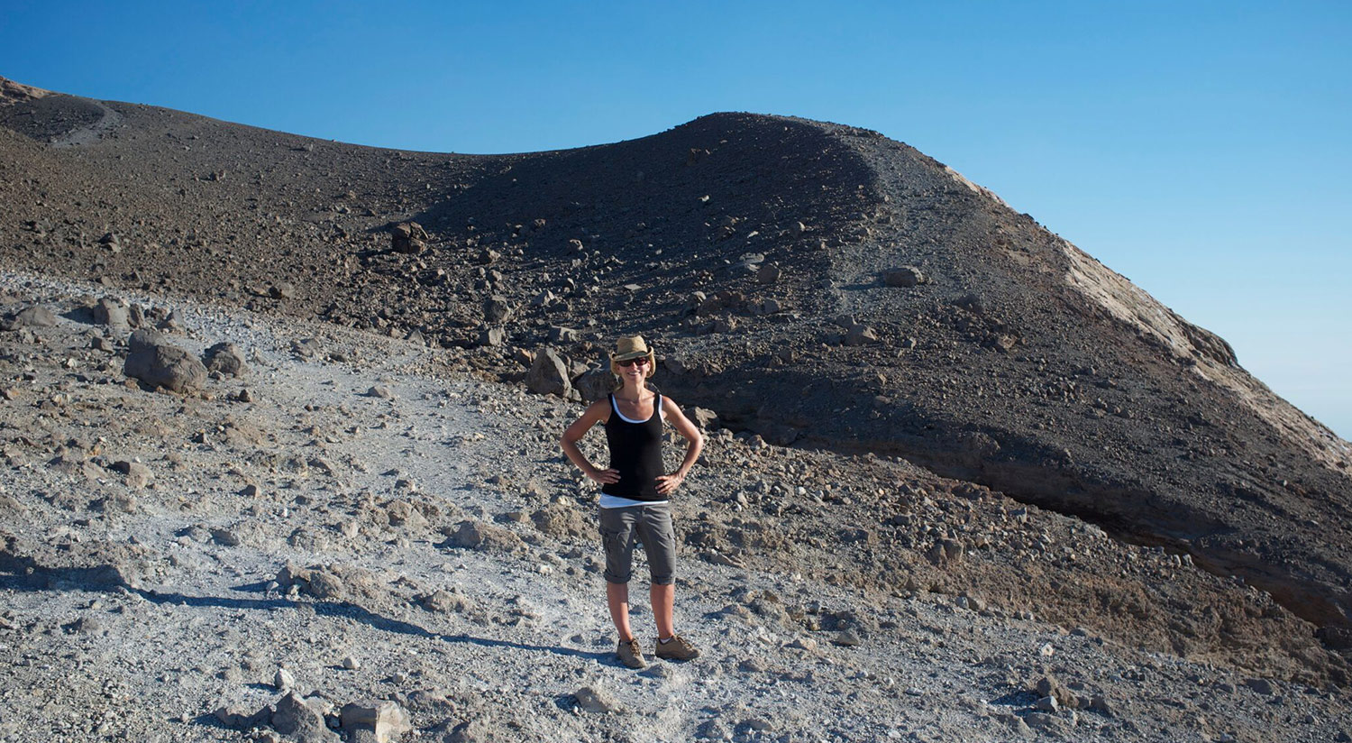 Exploring a volcanic landscape on the Aeolian Island of Vulcano in Italy, which is a research area of interest Meghan's my studies of subduction zone evolution and links to volcanic processes. Image: Associate Professor Meghan Miller.