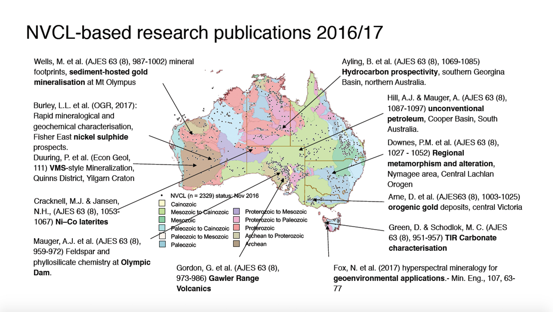 Map of Australia showing the location of hyperspectral studies that have been undertaken in the last few years. Small black dots mark the locations of HyLogged drill cores as part of the NVCL, with data available through AuScope's Discovery Portal. Illustration: Carsten Laukamp.