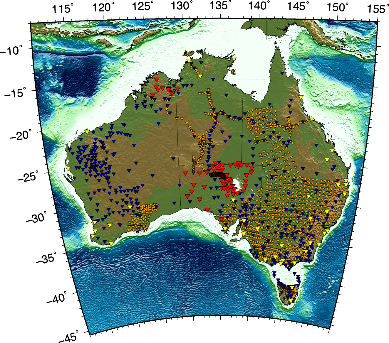 Map of Australia showing AuScope seismic stations, past and present: currently deployed seismic stations (red triangles), AuSis stations (yellow triangles), past Australian broadband seismic experiments (blue triangles), past Australian short period seismic experiments (orange triangle). All data available through  AusPASS .