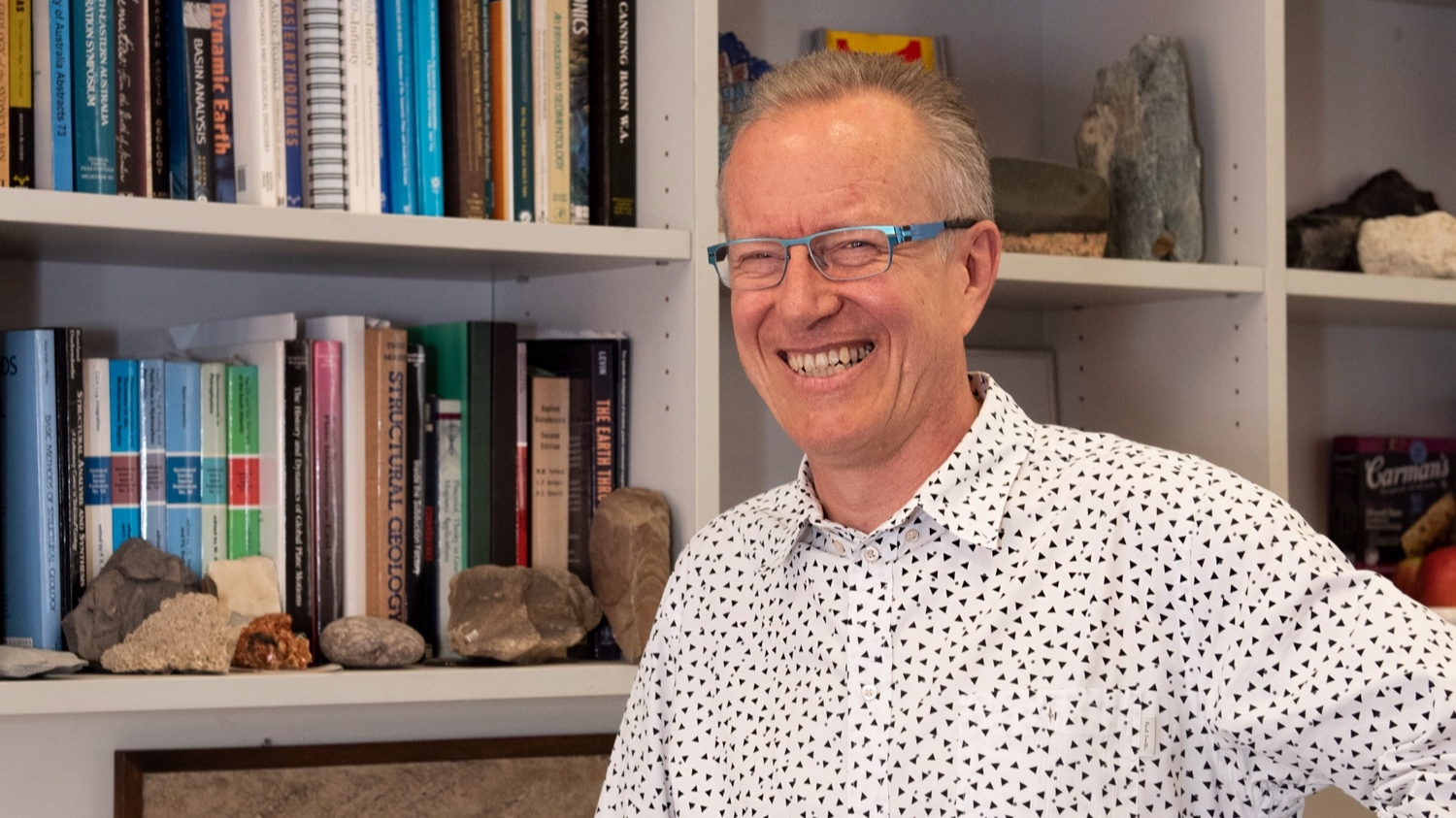 Dietmar in his Sydney University office in late 2018. Image ©AuScope.