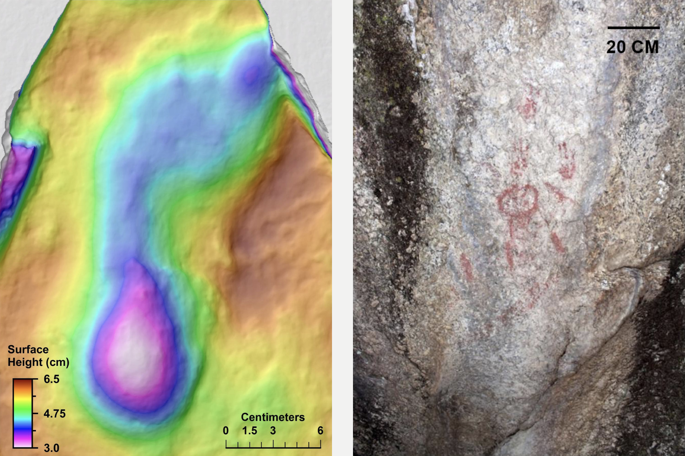 Left: A 'Kula footprint' discovered by construction workers in well-preserved in fine-grained volcanic ash in the 1960s. The footprints belonged to homo sapiens who stepped into a wet ash layer. As the volcanic eruption continued, their footprints were buried and preserved by a protective ash layer. Right: A red ochre painting in a rock-shelter located near the Çakallar volcano. Images:  Ulosoy et al. 2019 .