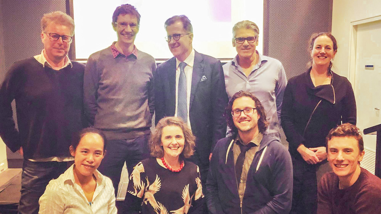 Academics and students pose for a pic after the 2019 Three Minute Thesis presentation at The University of Melbourne. Back row, L-R: As Prof Andy Martin, Prof James McCaw, Prof Aleks Owczarek, Dr Graham Phillips and Dr Robyn Schofield. Front row, L-R: Dr Wing Chan, Dr Jen Martin, Runner-up Giles Adams and Rohan Byrne. Image: Rohan Byrne.