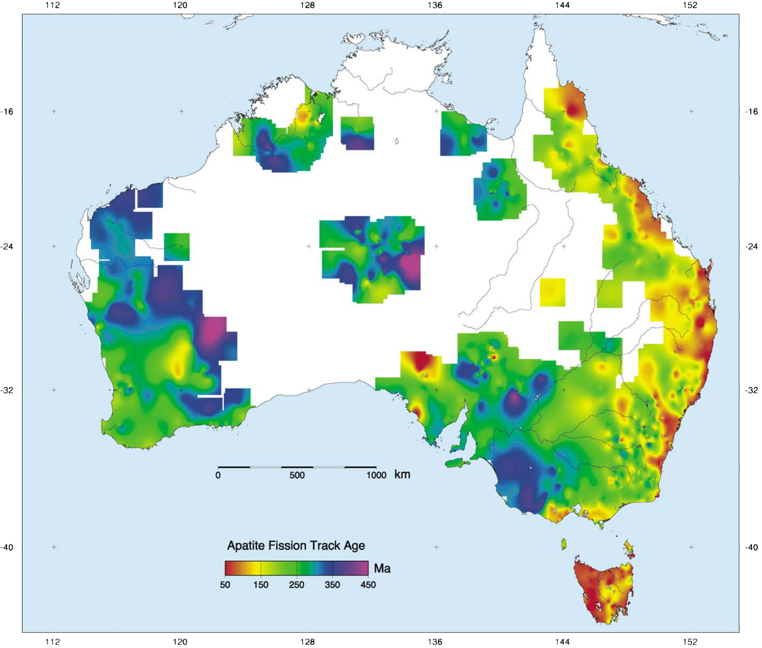 Example output of the AGN showing apatite fission track ages across the Australian continent. Maps like these provide a record of thermal events which can drive economically significant fluids through basin sediments and along crustal structures. Image:  Gleadow et al.