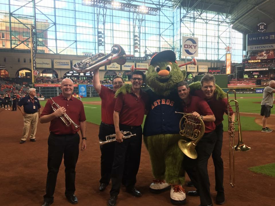 With the River Oaks Chamber Orchestra Brass Quintet, 2017. Go 'Stros!
