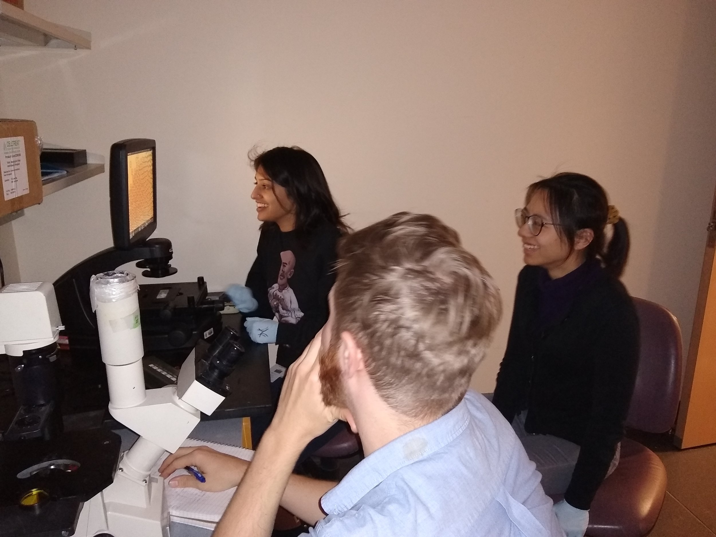 Deepti, Luhong and Adam checking out droplet occupancy
