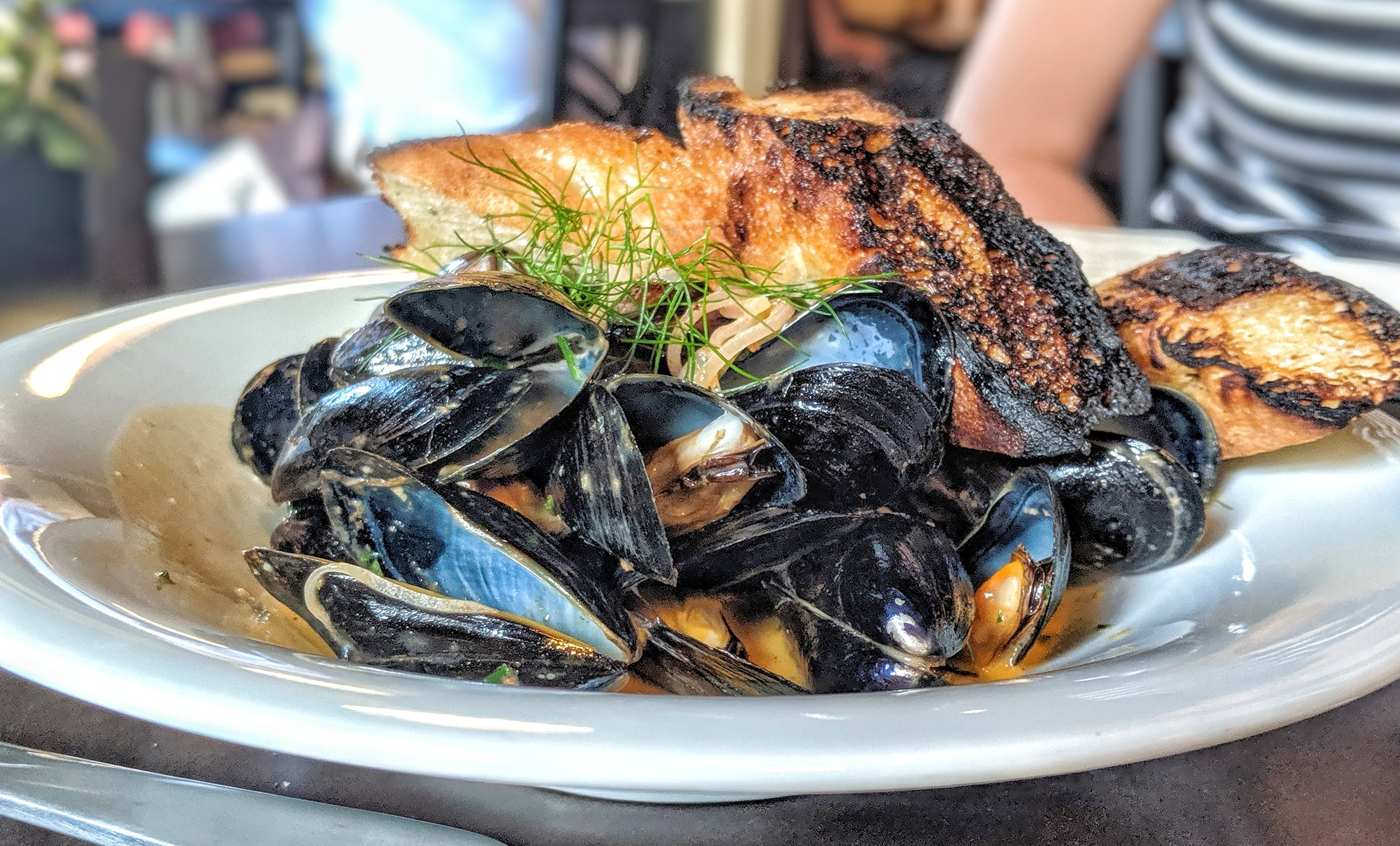 - Mussels with Shallot, Pernod, White Wine, 'Nduja Butter from Fress