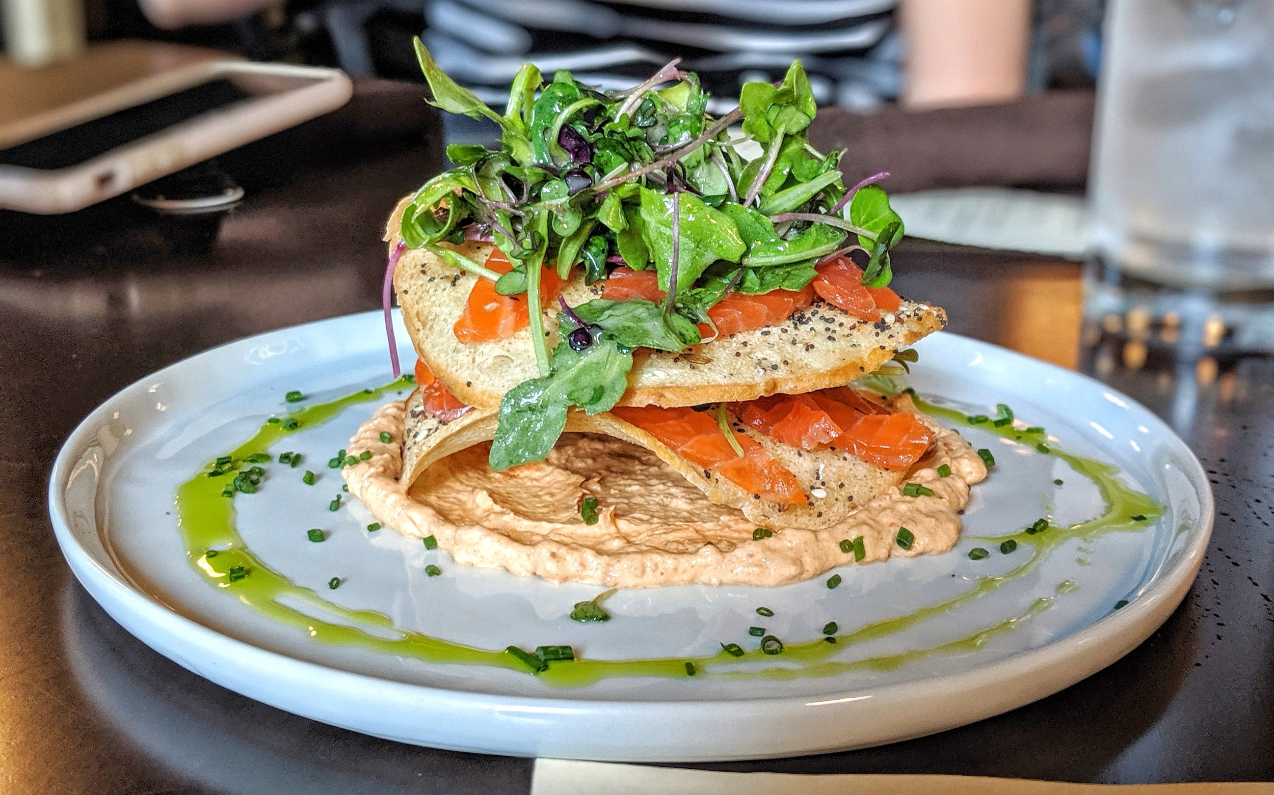 - Cured Trout with Bagel Chips, Spicy Greens, 'Nduja Créme Fraîche, Chive from Fress