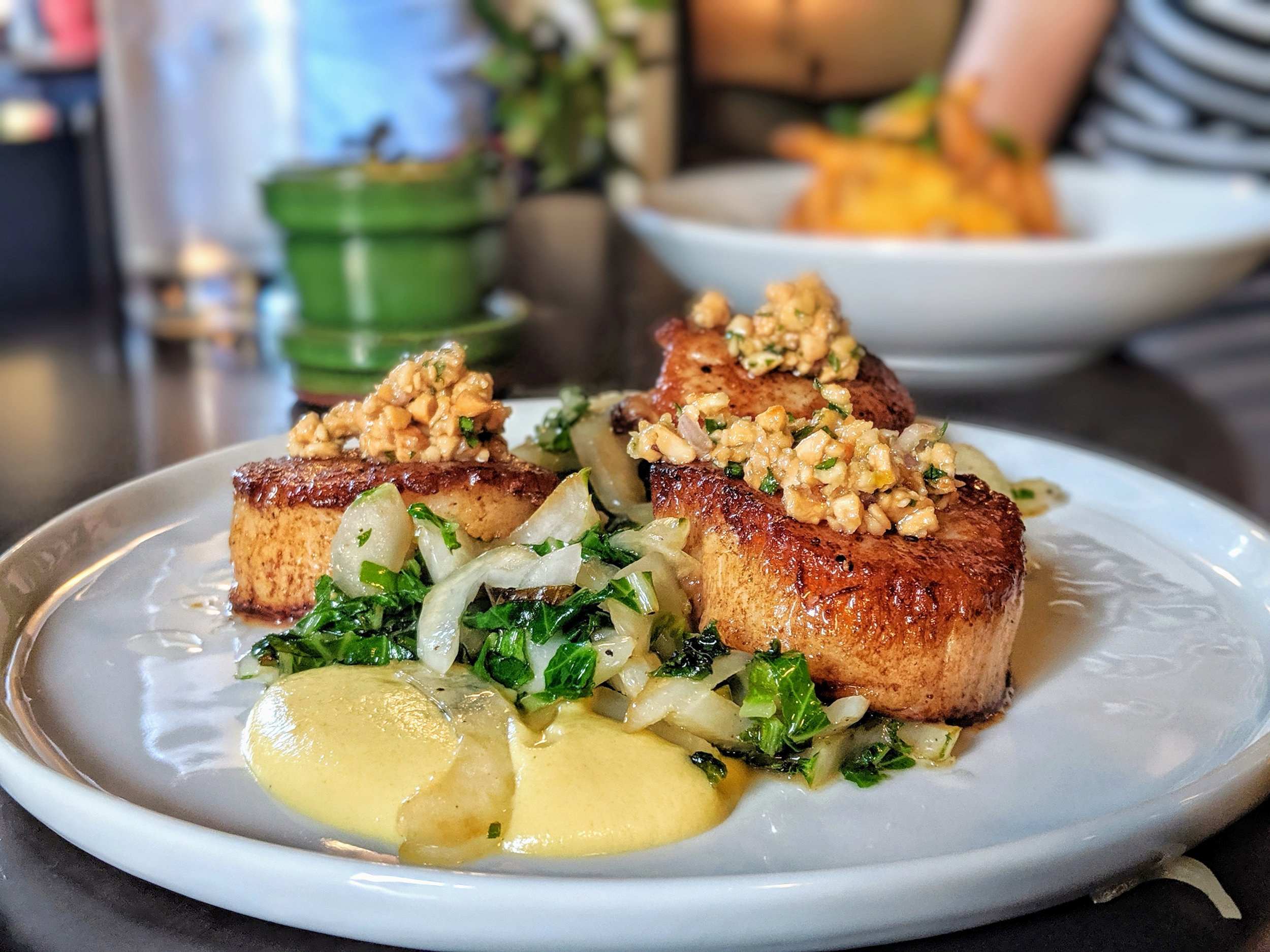 - Scallops with Cauliflower Purée, Bok Choy, Cashew Relish from Fress