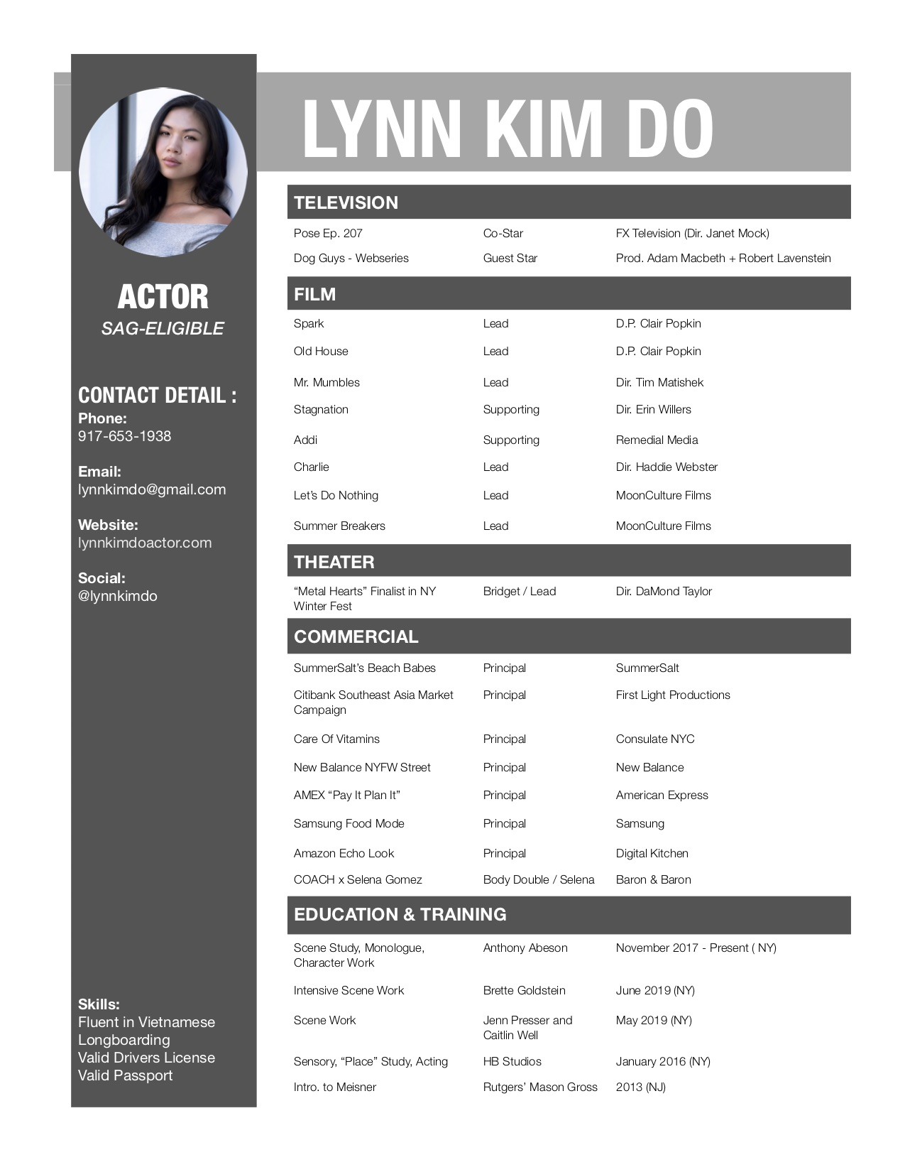 Lynn Kim Do - Actor Resume