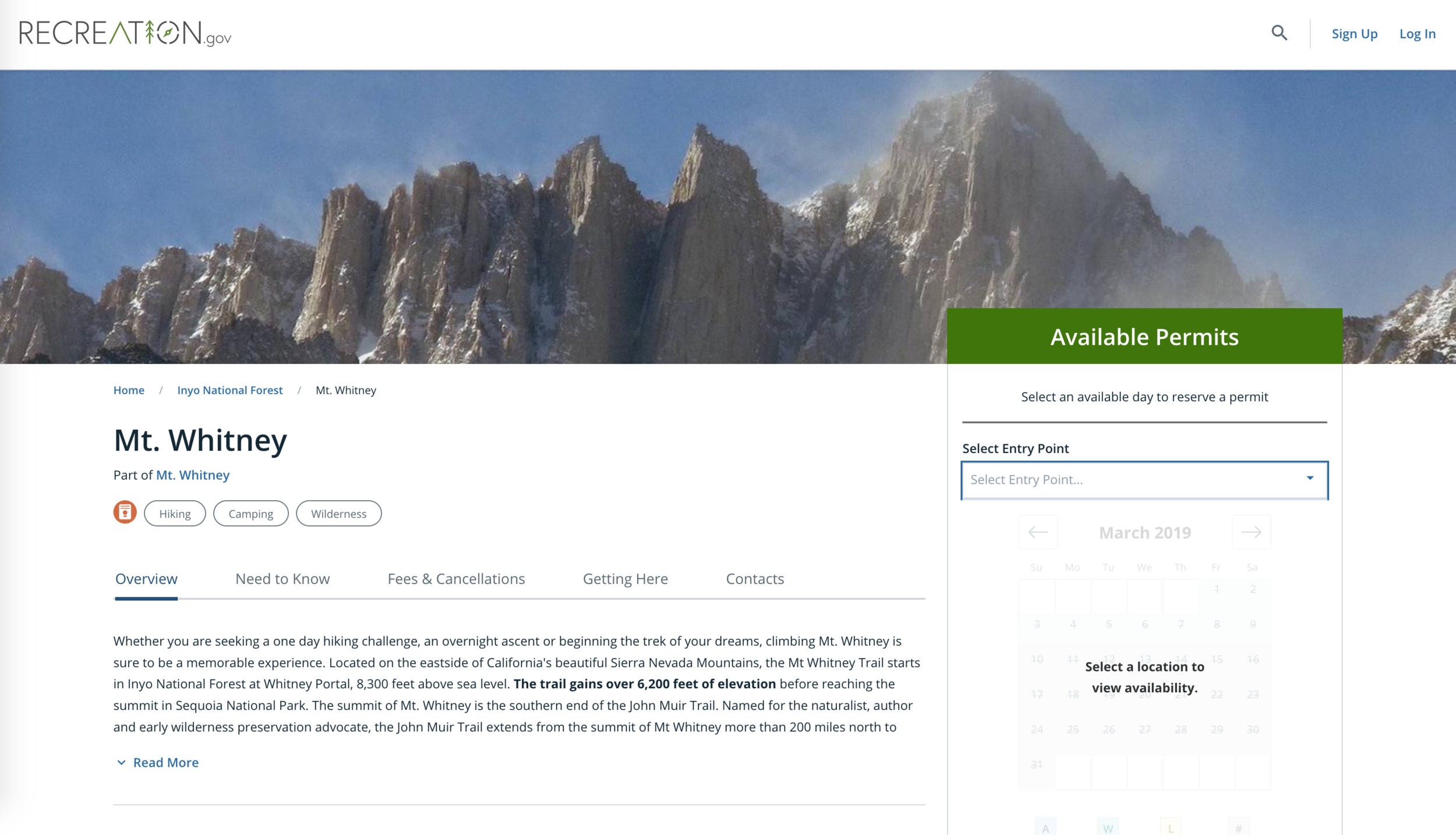 Recreation.gov website for reserving Mt. Whitney permits.
