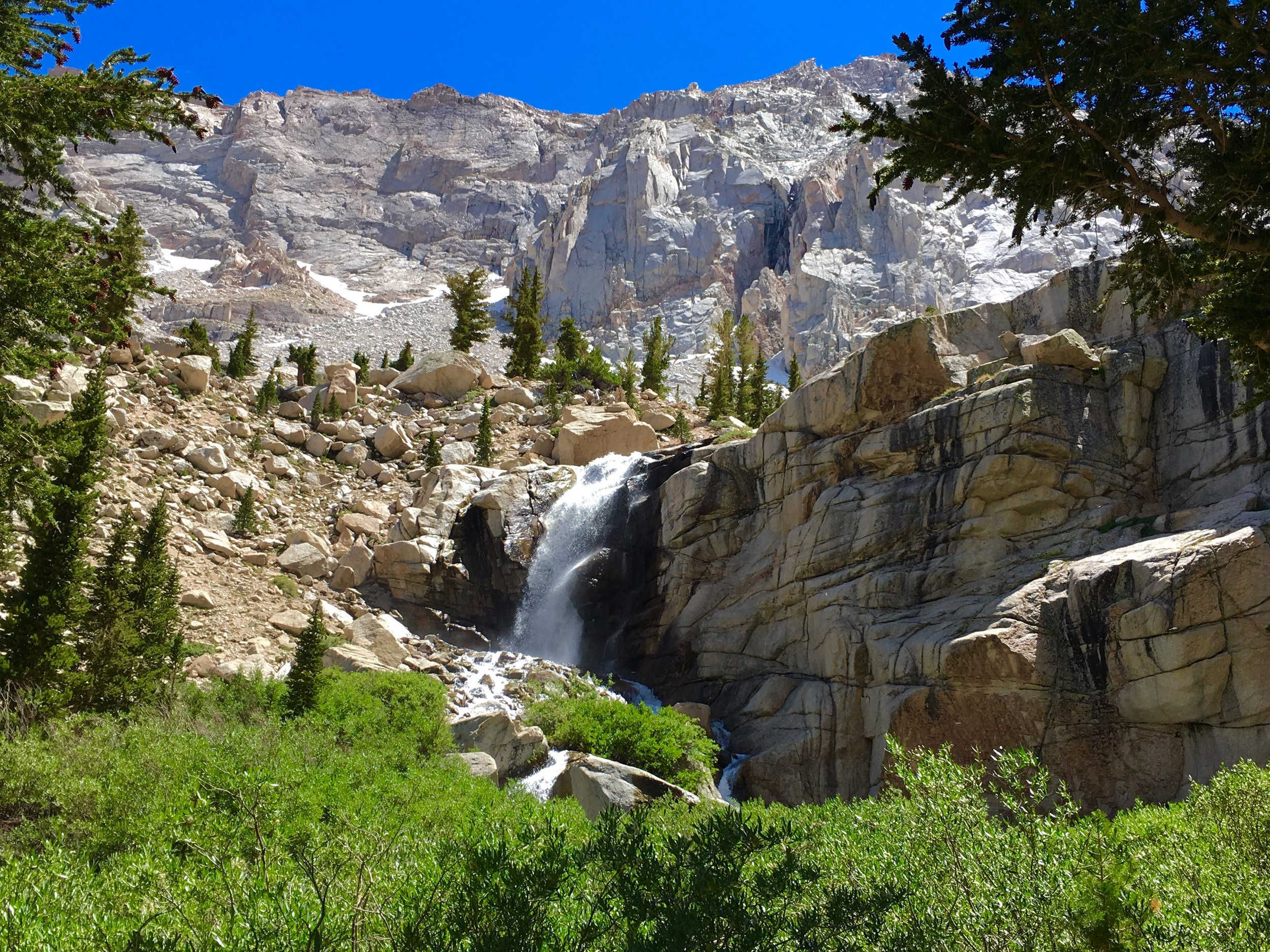 waterfall at outpost camp mt whitney trail.JPG