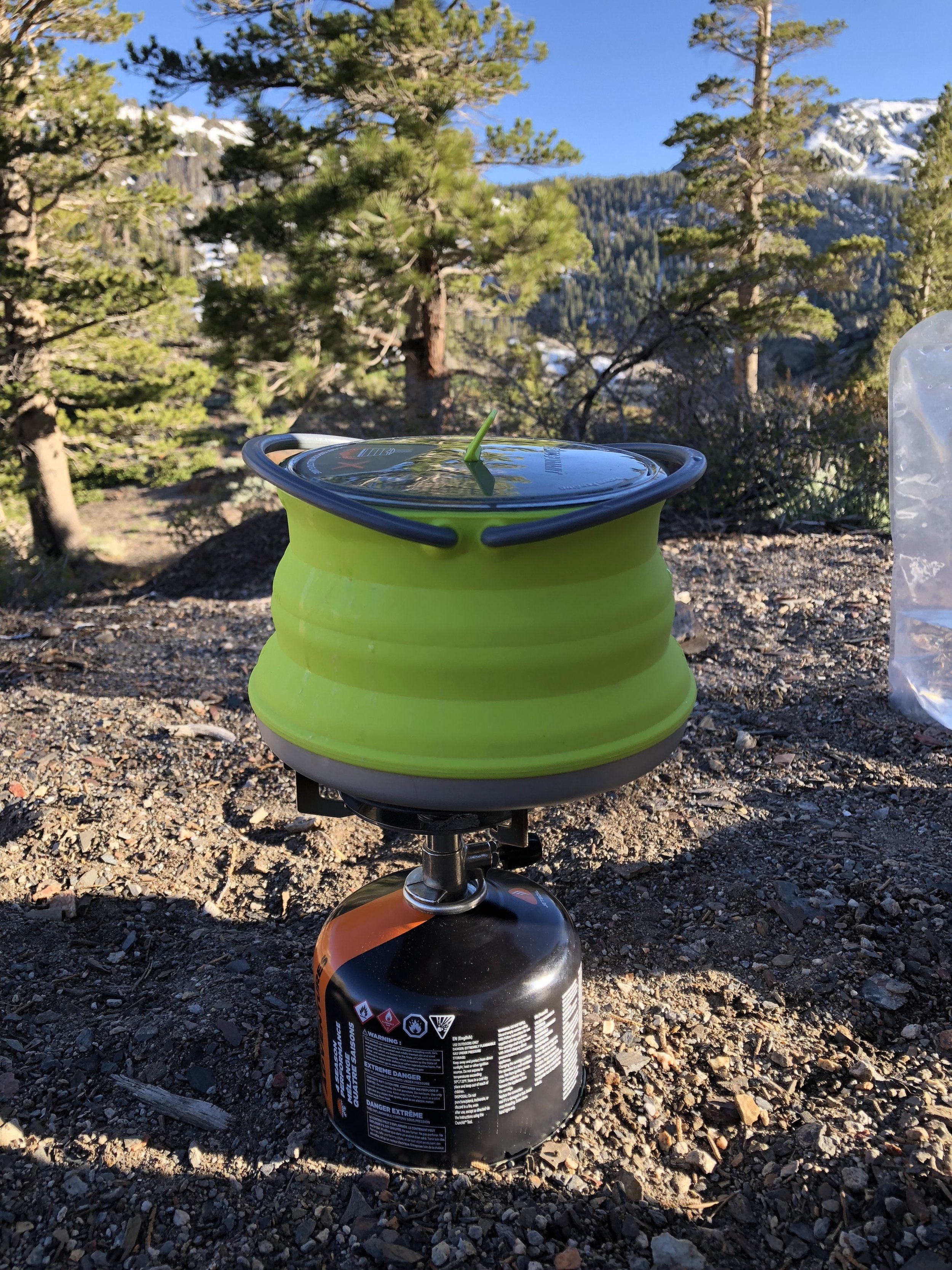 Sea to Summit pot, MSR Pocket Rocket stove and ISO propane stove