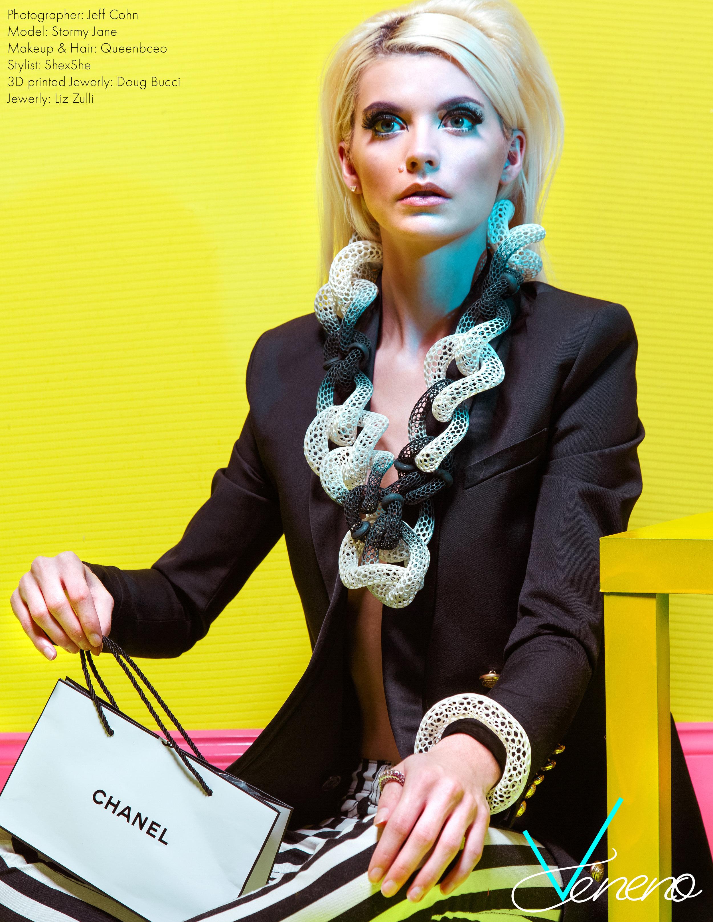 Jacket: H&M X Balmain, Pants: Balmain, 3D printed, Jewelry: Doug Bucci, Chanel: Bag and makeup