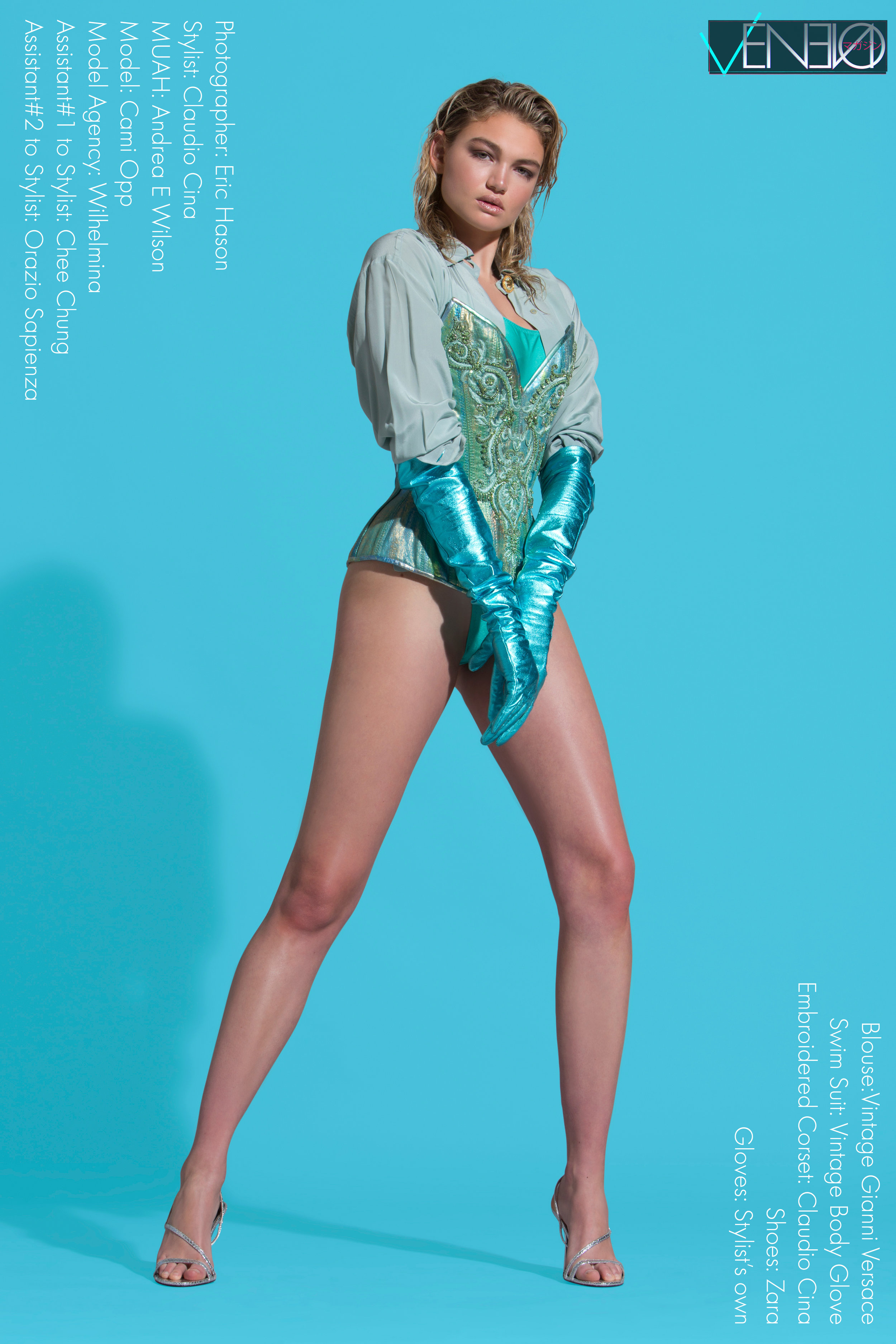 Blouse – Vintage Gianni Versace Swim Suit – Vintage Body Glove Embroidered Corset – Claudio Cina Shoes – Zara Gloves – Stylist's own