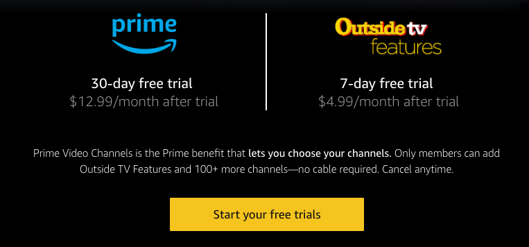 The Low Budget Free Trial Trick… - Combine free trials of Prime + Outdoor TV to watch XPT Experience