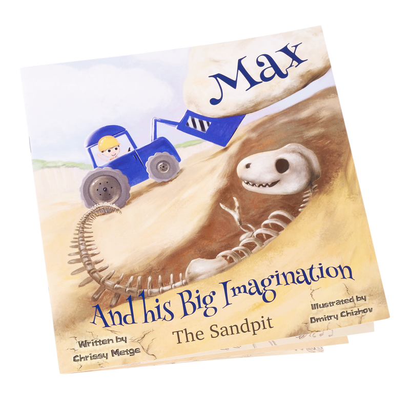 The Sandpit - Max is playing in his sandpit with his toy digger and imagines driving it in a real quarry where he digs up dinosaurs and makes some new friends.