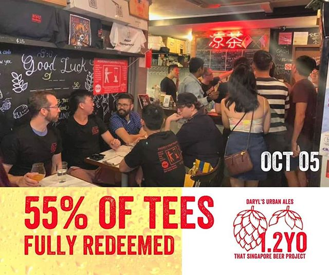 #Drinkforfreetees is still ongoing till 14 Oct and we are at 55% of tee redemption. Are you on your way?