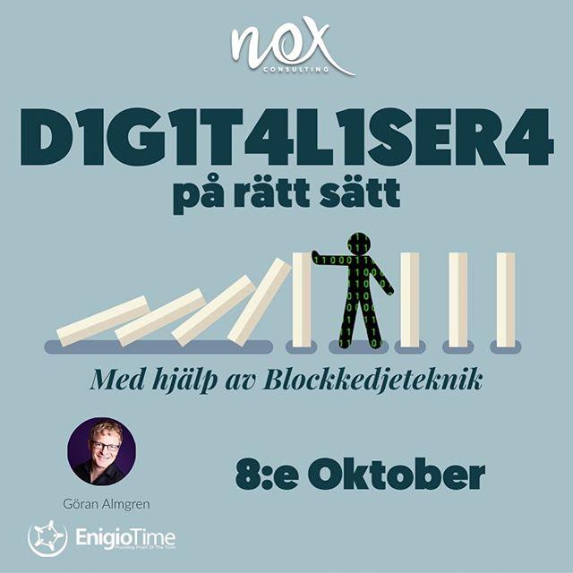 Digitalisering + Blockchain = Sant 👯♀️ På tisdag har vi bjudit in Göran Almgren för att berätta om hur Blockchain kan hjälpa till att lösa vanliga problem i ett företags digitaliseringsresa 💡 Eventet riktar sig till dig som på ett eller annat sätt jobbar med digitalisering ➡️ Läs mer och anmäl dig på noxconsulting.se/happenings
