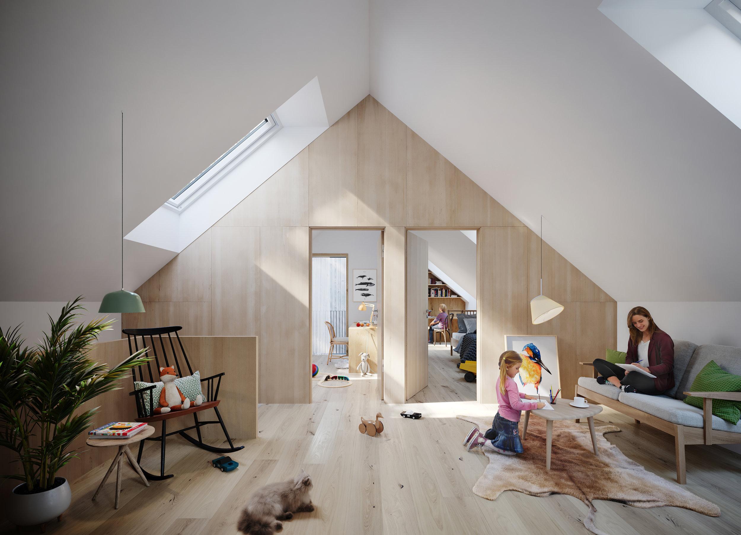 Visualisering frå loftsstova i atriumhuset.