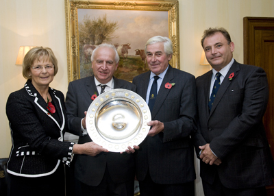 The Rt. Hon. The Baroness Byford, DBE (immediate past President), with J. Rees Roberts (2011 award winner) receiving trophy from John Coultrip (President) with Angus Stovold (Chairman)