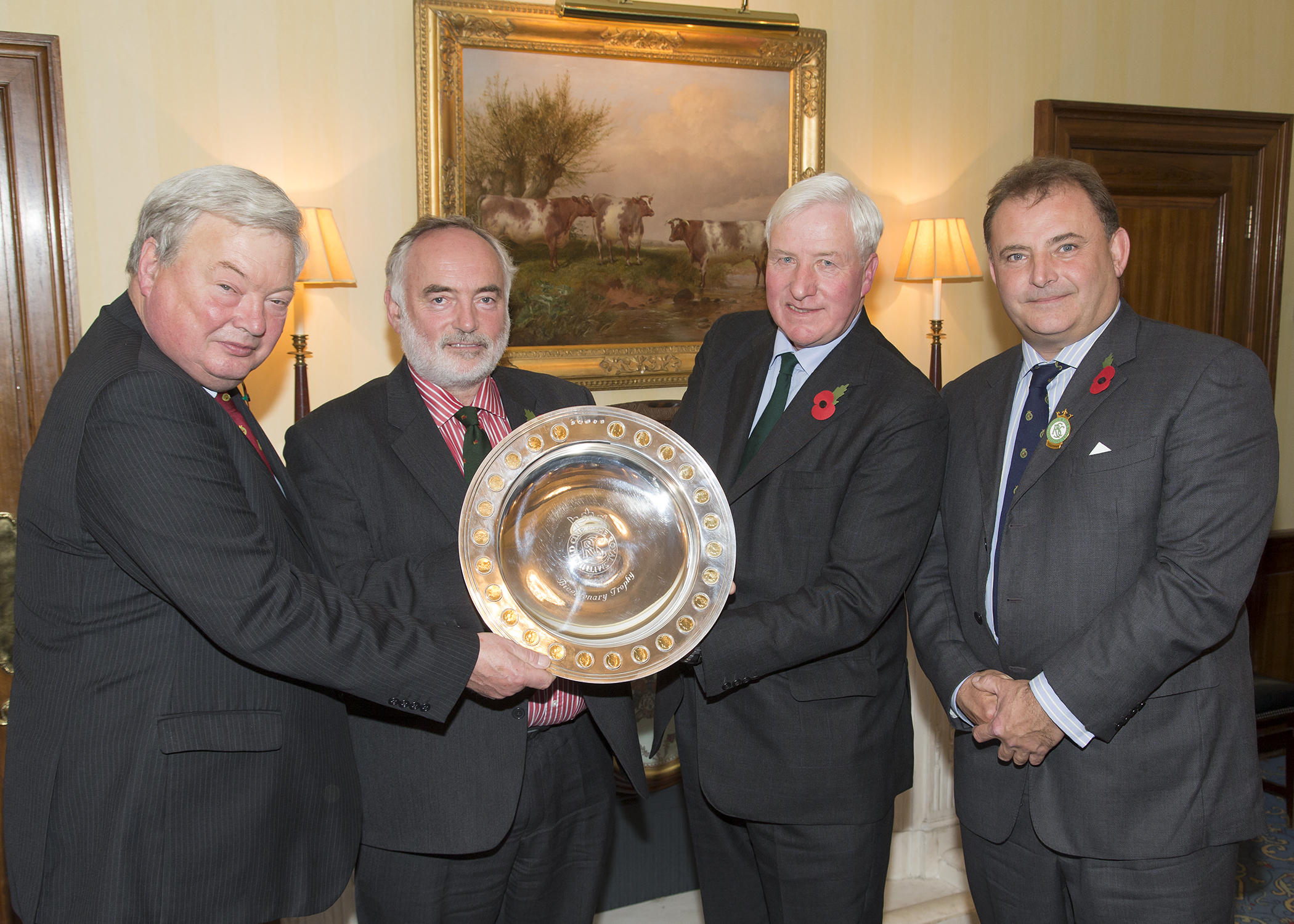 Nuffield Farming Scholarships presented with the Royal Smithfield Club Bicentenary Award. Left to right: Andrew Gilmour (The President, Royal Smithfield Club), Stephen Watkins (Chairman, Nuffield Farming Scholarships Trust), Mike Vacher (Director, Nuffield Farming Scholarships Trust), Angus Stovold (The Chairman, Royal Smithfield Club)