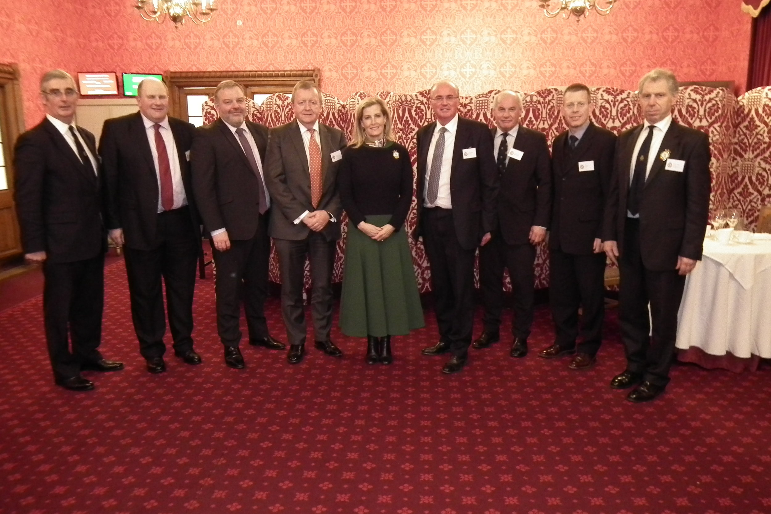HRH The Countess of Wessex (centre) pictured with (L-R) John Dracup Industry Strategy Director Royal Smithfield Club, Andrew Laughton Chief Executive National Beef Association, Prys Morgan Procurement Director Kepak-St Merryn, Tom Kirwan Chief Executive ABP, Robbie Galloway CEO Scotbeef, David Gunner Chief Executive Dovecote Park, Mark Allan Dawn/Dunbia, William Bedell Chairman Royal Smithfield Club
