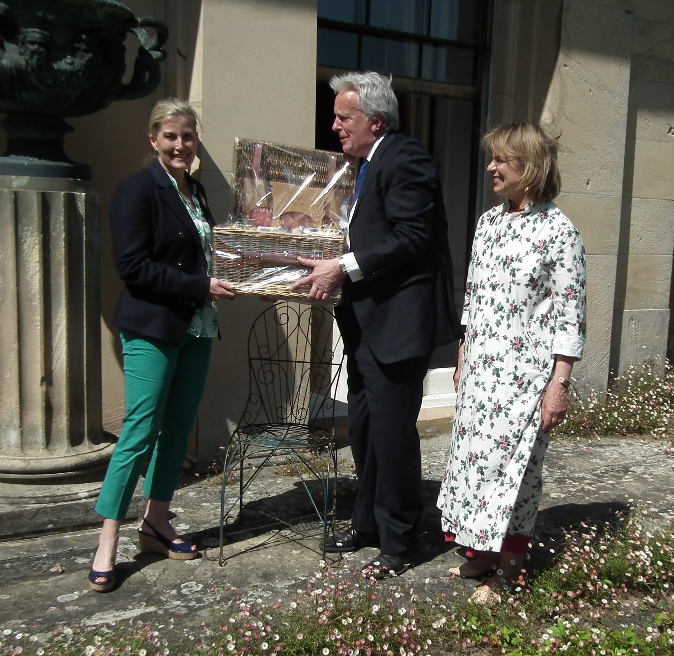HRH The Countess of Wessex receives a Ludlow Farmshop hamper from Lord & Lady Plymouth